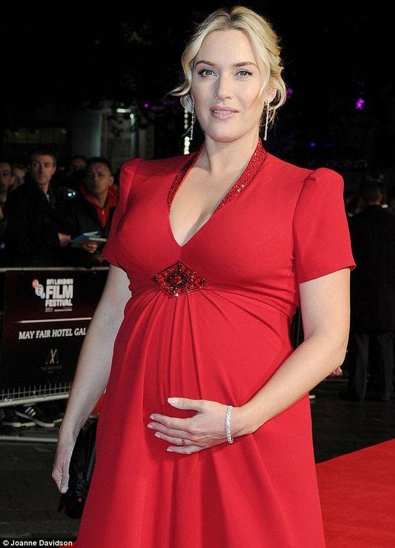 Kate Winslet pregnant wearing red dress and diamond tennis bracelet