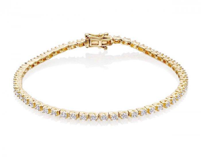 8dd65f2f4ae39 Diamond Tennis Bracelet 1ct Diamond G/HSI Box Claw 9K Yellow Gold