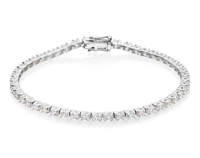 7168058c82d14 Diamond Tennis Bracelet 3ct G/HSI Quality Box Claw 18K White Gold