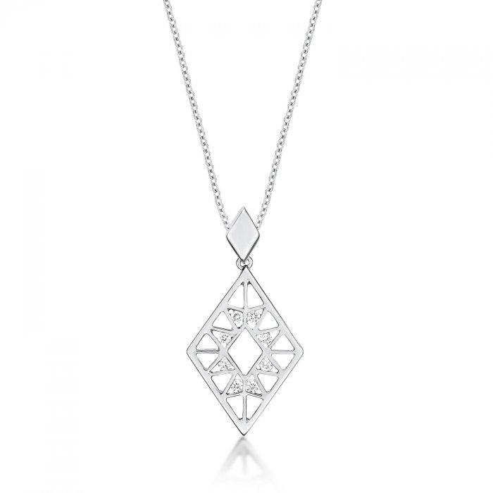 Rhombus diamond pendant necklace 015ct diamonds in 9k white gold aloadofball Images