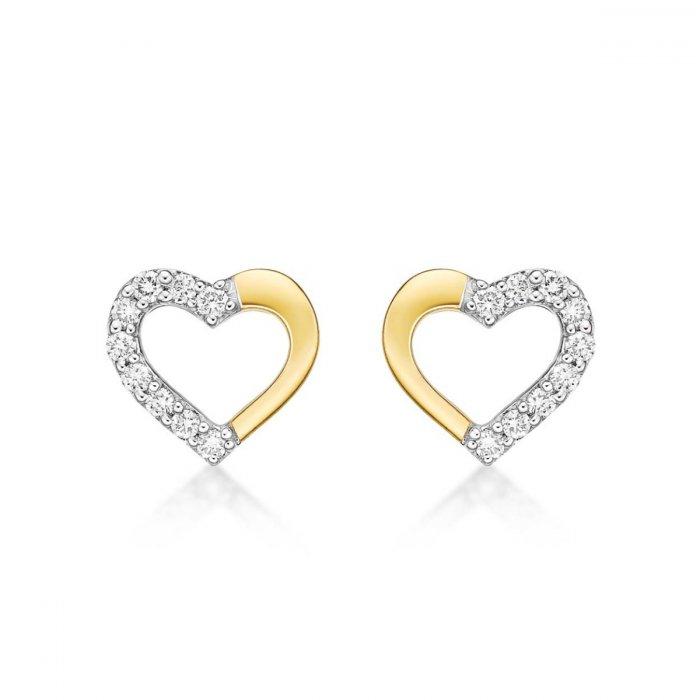 You Me Diamond Heart Earrings 0 20ct Diamond Studs 9k Yellow Gold