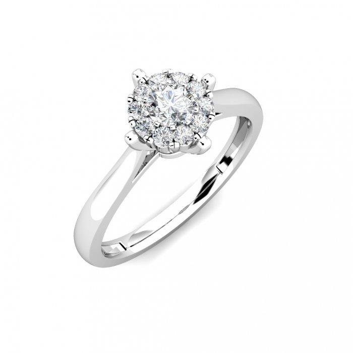 02e2799873 Star Diamond Cluster Engagement Ring 0.20ct Diamonds in 18K ...