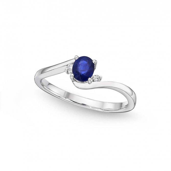 2ad27331b2219b Sapphire Ring 4x5mm Blue Sapphire & 0.03ct Diamonds in 18K White ...