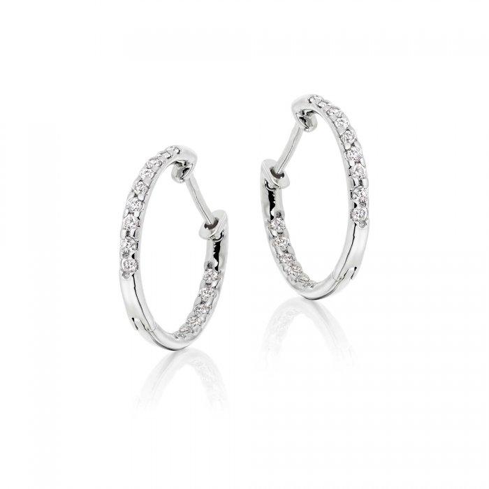 0.25ct claw set diamond hoop earrings