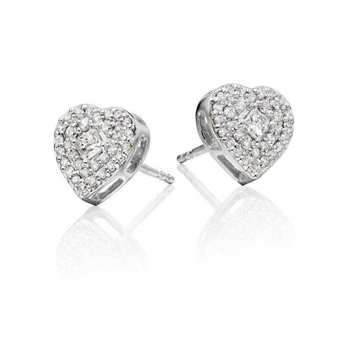 0 40ct Diamond Heart Stud Earrings 9k White Gold