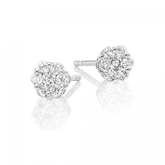 ec0f3244ff758d Flower Diamond Cluster Earrings 0.33ct Studs 18K White Gold