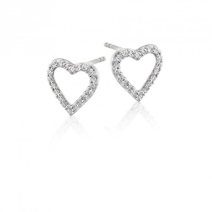 0 25ct Diamond Heart Stud Earrings 18k White Gold