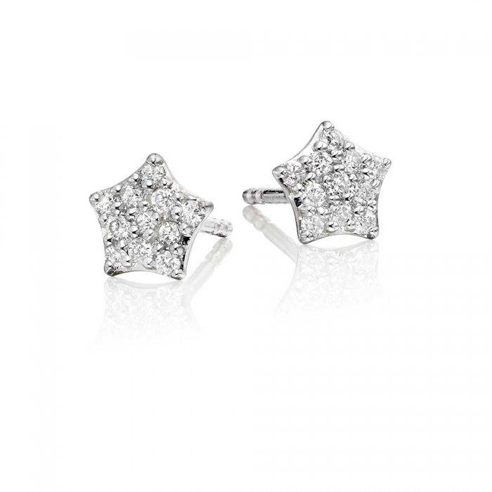 e9a4bfbd9 Star Diamond Cluster Earrings 0.17ct Star Shape Studs 18K White Gold