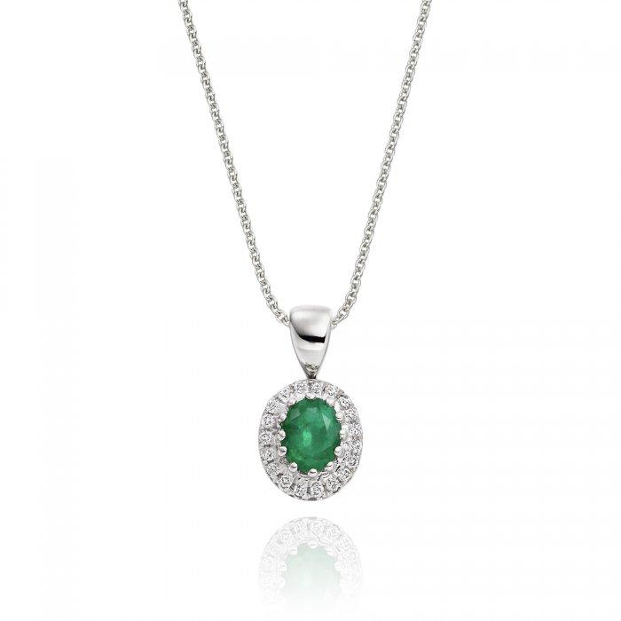 020ct emerald pendant necklace 005ct diamond 18k white gold mozeypictures Choice Image