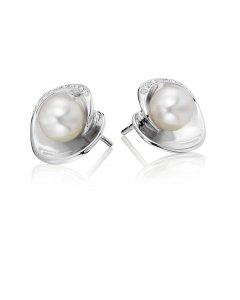 Bowl Freshwater pearl & diamond studs in 9K white gold