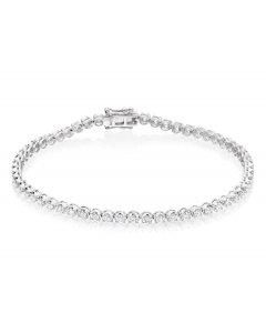 Basket Claw 2.00ct diamond tennis bracelet in 18K white gold