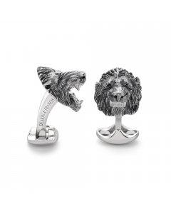 Designer Sterling Silver Lion Head Cufflinks By Deakin & Francis