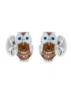 Deakin & Francis Sterling Silver Owl Cufflinks with Sapphire Eyes