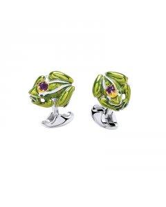 Sterling Silver Frog Cufflinks With Green Enamel By Deakin & Francis