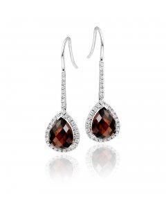 3.25ct Garnet And 0.33ct Diamond Earrings In 9K White Gold