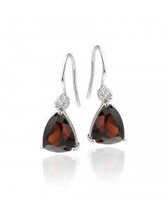 8mm x 10mm Garnet and 0.10ct diamond earrings in 9K white gold