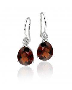 8mm x 10mm Pear Shape Garnet and 0.10ct diamond earrings in 9K white gold