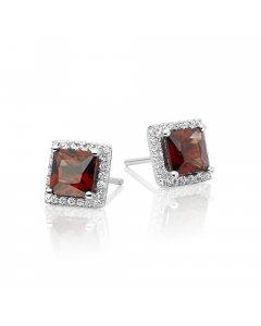 5mm x 5mm Garnet and 0.19ct diamond stud earrings in 9K white gold