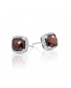 6mm x 6mm Garnet and 0.16ct diamond stud earrings in 9K white gold