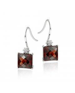 9mm x 9mm Garnet and 0.06ct diamond earrings in 9K white gold