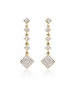 Drop 0.50ct diamond earrings in 9K yellow gold