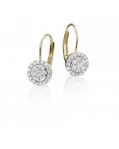 Solar Diamond Cluster Earrings 0.33ct Drop Earrings 9K Yellow Gold