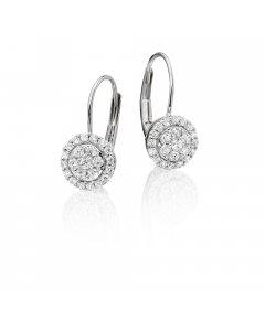 Solar Diamond Cluster Earrings 0.33ct Drop Earrings 9K White Gold