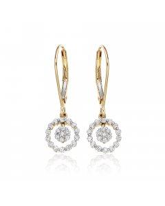 Orbit 0.40ct cluster diamond earrings in 9K yellow gold