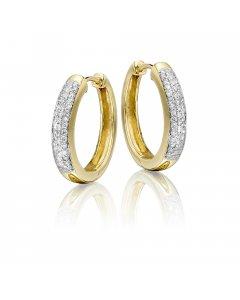 Jubilee pave set 0.25ct diamond hoop earrings in 9K yellow gold