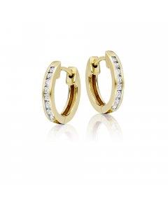 Channel set 0.25ct diamond hoop earrings in 18K yellow gold