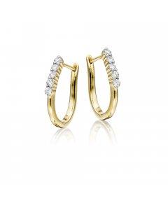 Quinate 0.25ct 5-diamond hoop earrings in 9K yellow gold