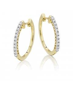 Elevate 0.25ct claw set diamond hoop earrings in 9K yellow gold