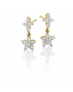 Flower drop 0.50ct diamond earrings in 9K yellow gold