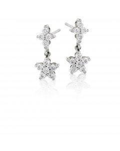 Flower drop 0.50ct diamond earrings in 18K white gold