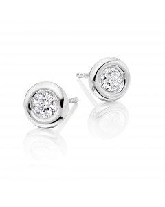 Solitaire 0.50ct Bezel set round diamond studs in 9K white gold