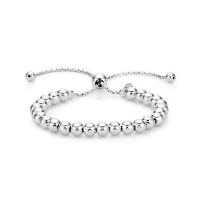 Sterling Silver Ball Bracelet, Adjustable Size Silver Bracelet