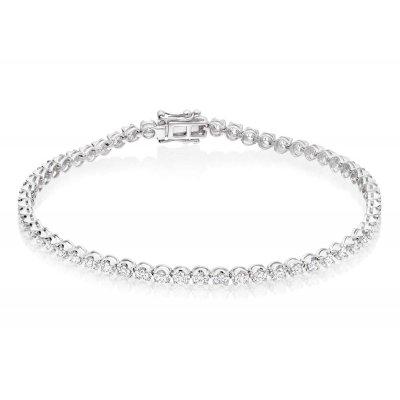 Diamond Tennis Bracelet 2ct G/HSI Quality Basket Claw 18K White Gold
