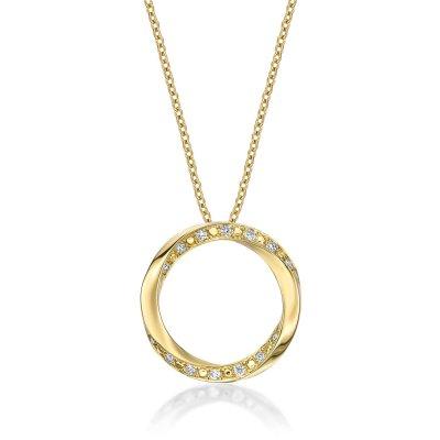 Open Circle Diamond Pendant Necklace with 0.15ct Diamonds 9K Yellow Gold