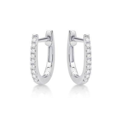 Mini Diamond Hoop Earrings 0.16ct Diamonds in 9K White Gold