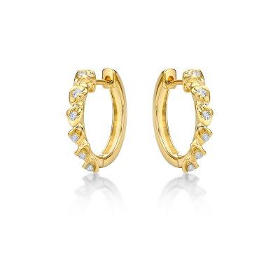 Diamond Eye Diamond Hoop Earrings 0.14ct Diamonds in 9K Yellow Gold