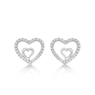 Amour Diamond Heart Earrings 0.20ct Diamond Studs in 9K White Gold