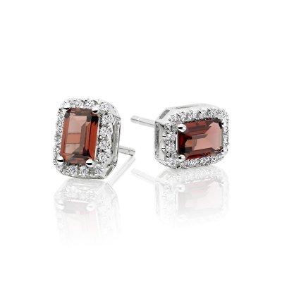 1.30ct Garnet And 0.15ct Diamond Stud Earrings In 9K White Gold