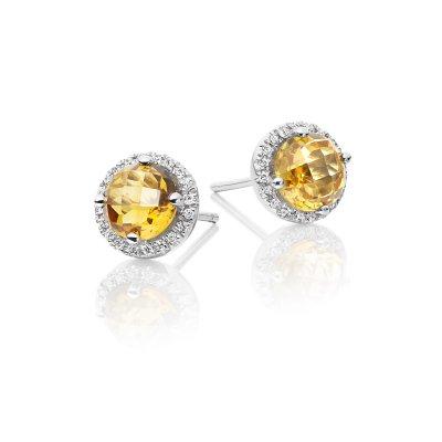 Citrine & Diamond Stud Earrings 1.50ct Citrine 9K White Gold