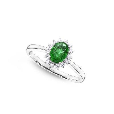 Emerald Ring 5x7mm Oval Emerald & 0.21ct Diamonds in 18K White Gold