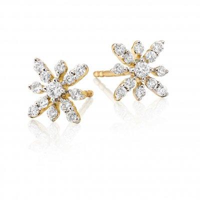 Fleur Diamond Cluster Earrings 0.33ct Studs 9K Yellow Gold