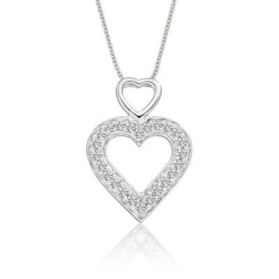 Double Diamond Heart Pendant 0.25ct Diamond 9K White Gold