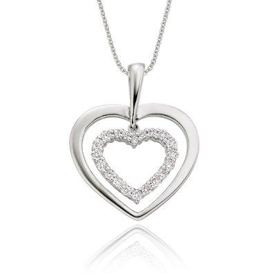 Twin Diamond Heart Pendant 0.23ct Diamond 18K White Gold