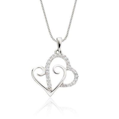 Heart 2 Diamond Heart Pendant 0.12ct Diamond 9K White Gold