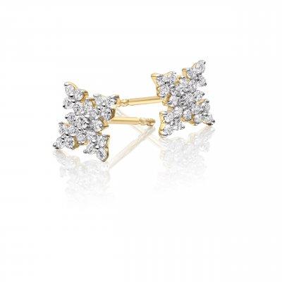 Night Star Diamond Cluster Earrings 0.33ct Studs 9K Yellow Gold