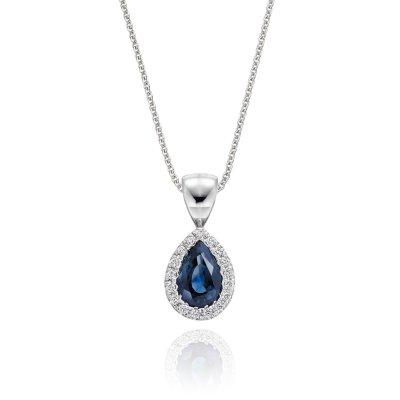 0.50ct Blue Sapphire Pendant Necklace 0.05ct Diamond 9K White Gold